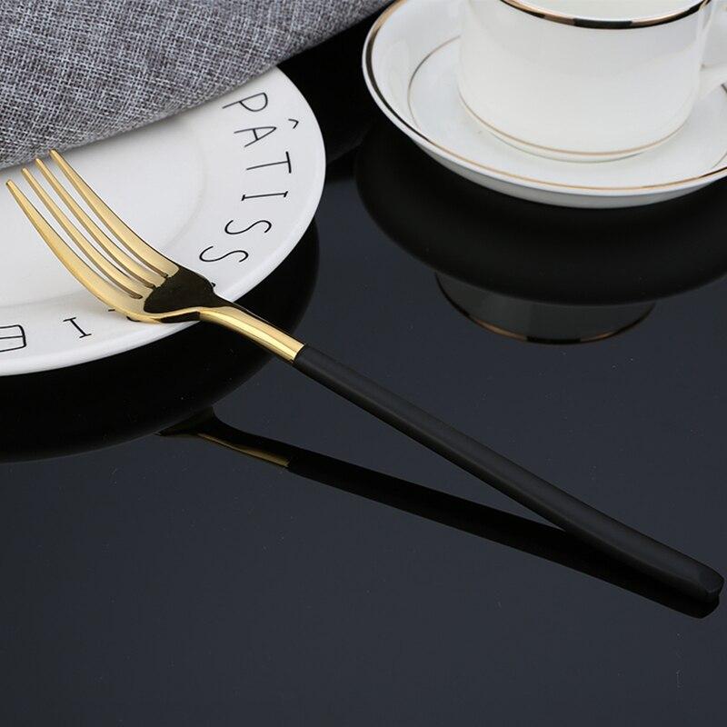 Купить с кэшбэком KuBac Hommi 2018 New 24pcs Golden Top Stainless Steel Steak Knife Fork Party Cutlery Dinnerware Set black gold silver 4 colors
