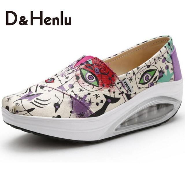 {D & H} Nuevas Mujeres Ocasionales Zapatos de Plataforma de La Moda Zapatos de Mujer Pisos Suelas de Colchón de Aire Zapatos de Las Señoras de Las Mujeres Vulcanizan Los Zapatos de