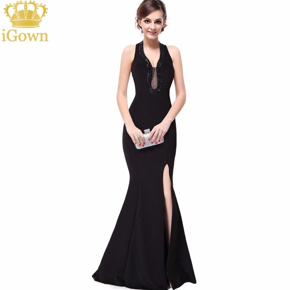 IGown Marke Meerjungfrau Abendkleid Günstigstes Halter Long Black