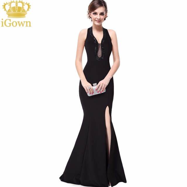 iGown Brand Mermaid Evening Dress Cheapest Halter Long Black Evening ...