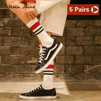 Socks Men Harajuku Short Striped Hip Hop Funny Cotton Off White Cool Black Men's Streetwear Style Calcetines Lote Novelty 5Pairs