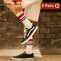 Socks Men Harajuku Short Striped Hip Hop Funny Cotton Casual Off white Design Cool Black Business Men's Street Style Lot 5 Pairs