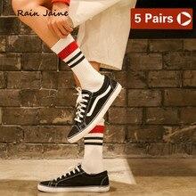 Socks Men Harajuku Short Striped Hip Hop Funny Cotton Casual Off-white Design Cool Black Business Men's Street Style Lot 5 Pairs fashionable striped style men s socks black white pair