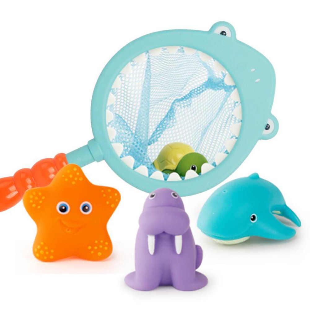Baño Bebé ducha agua suave pegamento Spray Animal natación flotador juguetes colorido lindo tiburón red de pesca niños juguetes de baño conjunto