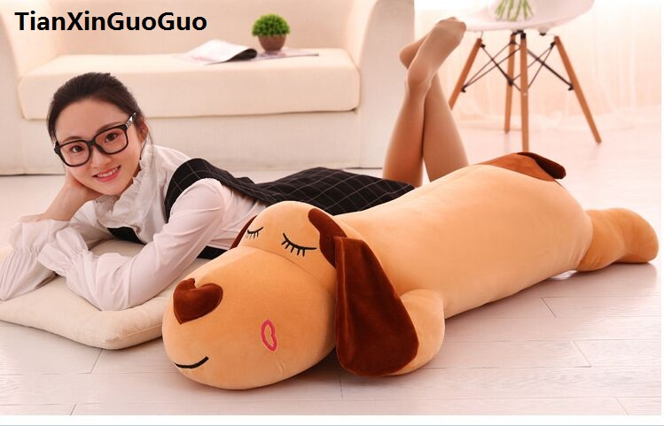 stuffed toy large 120cm cartoon prone dog plush toy brown dog soft sleeping pillow Valentine's Day gift w2580 fancytrader 120cm super lovely jumbo plush shar pei dog toy large dog doll sleeping pillow gift for child free shipping ft50048