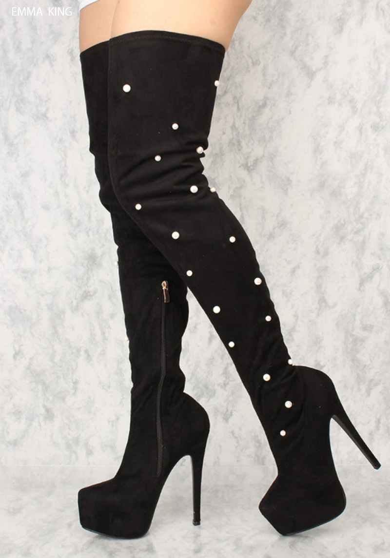 Botas Mujer 2018 Platform Boots Women Fashion Pearl Decorated Round Toe High Heels Over Knee Thigh High Boots Winter Shoes WomenBotas Mujer 2018 Platform Boots Women Fashion Pearl Decorated Round Toe High Heels Over Knee Thigh High Boots Winter Shoes Women