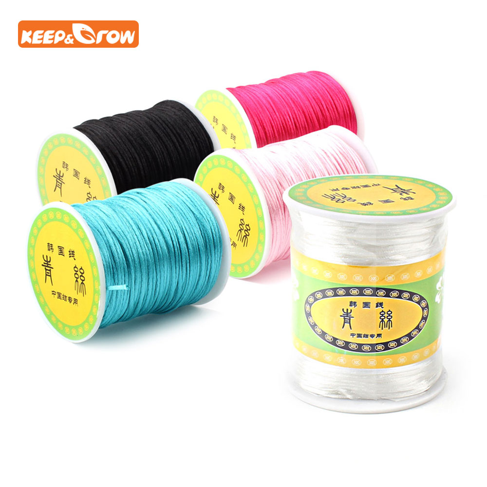 Keep&grow 80m/roll Soft Satin Nylon Cord Solid Rope 1.5mm For Jewelry Making Pacifier Chain Necklace Cord Baby DIY Making Tool(China)