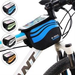 Велосипедная Передняя сумка для телефона с сенсорным экраном, MTB Дорожная велосипедная сумка для мобильного телефона, велосипедная Передня...