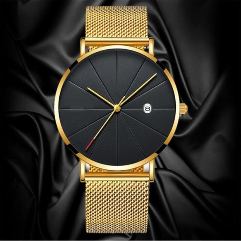 HTB1gjW6aL1H3KVjSZFHq6zKppXab Luxury Fashion Business Watches Men Super Slim Watches Stainless Steel Mesh Belt Quartz Watches Gold Watches Men Gift 2019