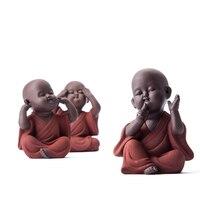 Chinese Handmade Tea Set Tea Pet Purple Sand Buddha Monk Tea Accessories Home Car Decor Zisha