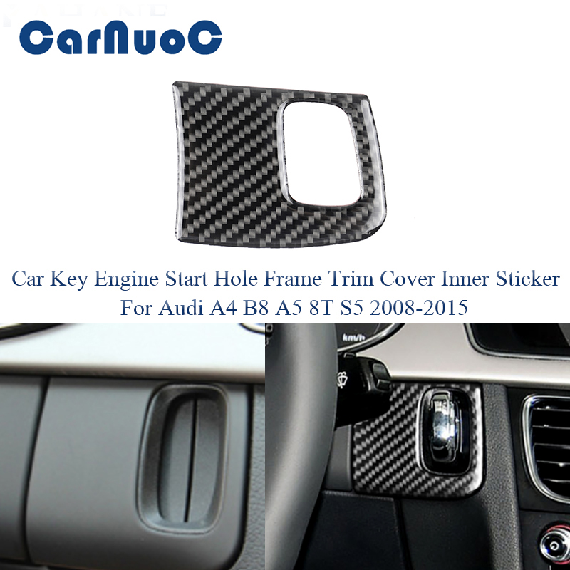 For Audi A4 B8 2015 2016 2017 2018 Car Accessories Carbon Fiber Interior Key Engine Start Hole Frame Trim Cover Inner Sticker image