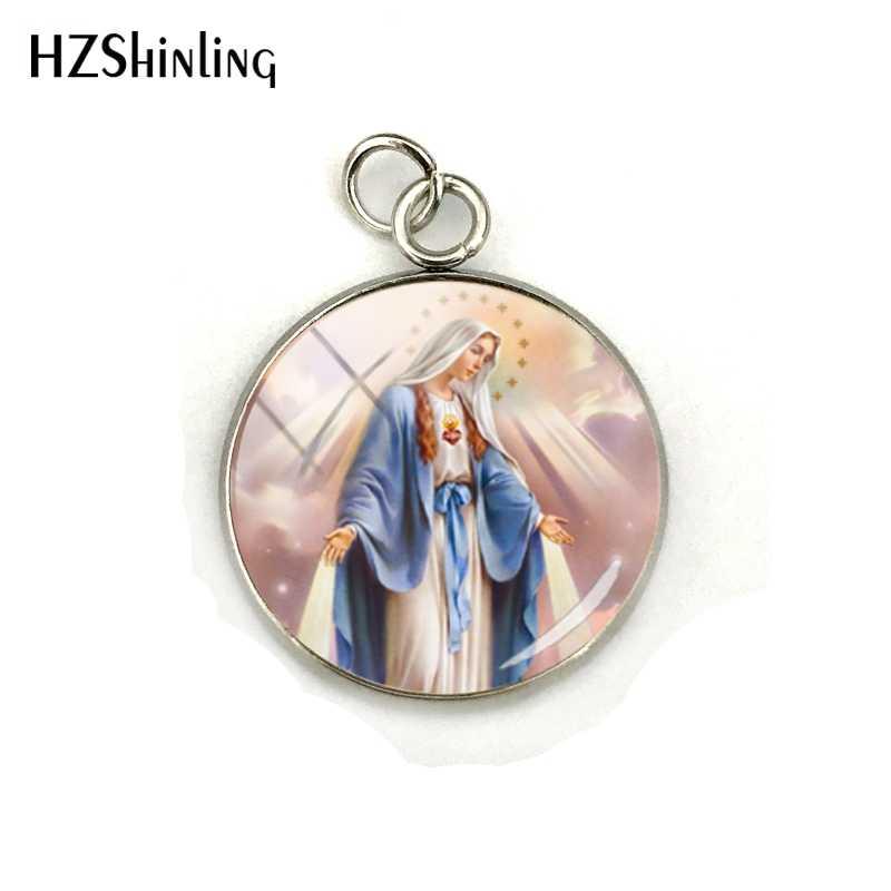 2019 新ヴィンテージ聖母マリアジュエリーペンダント聖母グアダルーペのジュエリーガラスドームステンレス鋼チャームギフト用