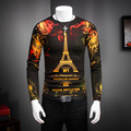 European Style Mens Sweaters Eiffel Tower Print Long Sleeved Knitted Pullover Men Thin Soft Dress Slim Fit Male Sweater Casual