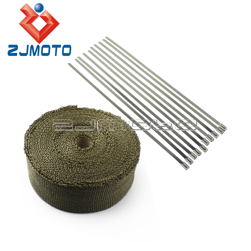 "Titanium Honda 1/"" x 25/' Foot Motorcycle Protection Header Exhaust Heat Wrap"