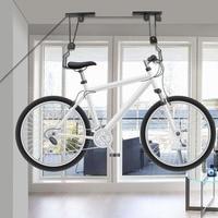 TORE Bike Lift Soffitto Montato Hoist Bicicletta Espositore Parcheggio Bagagli Hanger Rack Bike Cremagliera Puleggia Bicicletta Assemblee