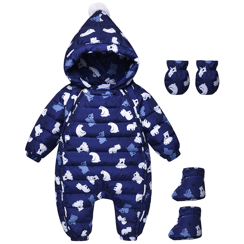 все цены на Baby Snowsuits Hooded Jumpsuit Down Suits For Boys Girls Clothing Warm Coat Kids Overalls Infantil Rompers With Gloves Foot Set