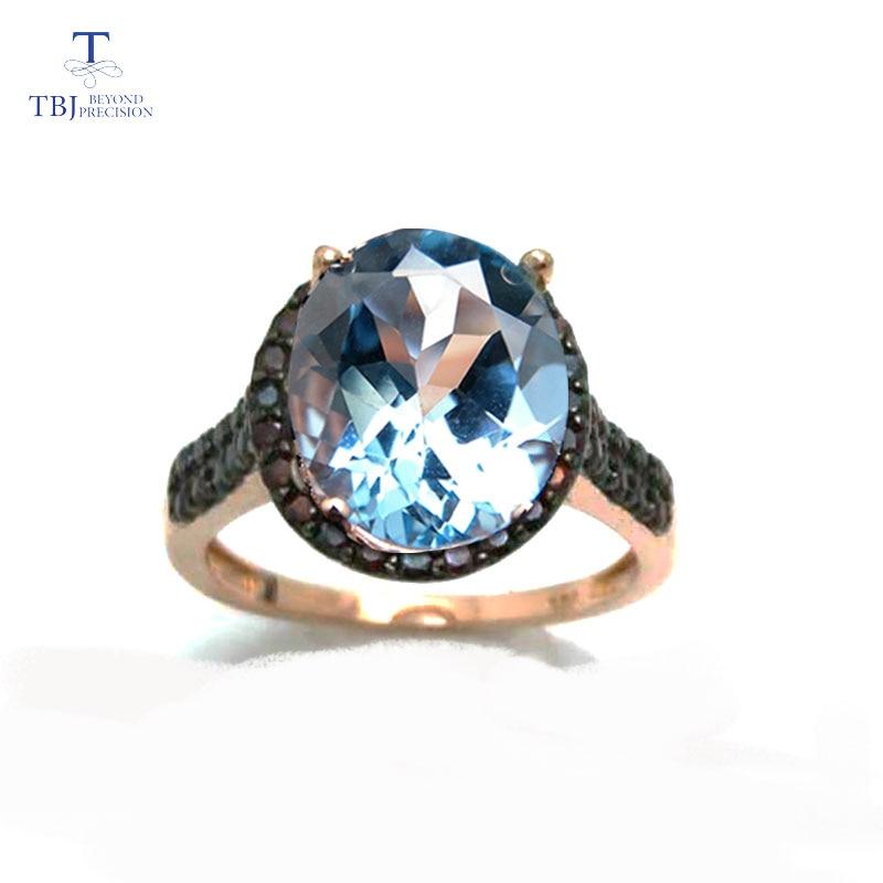 TBJ,big size 5.5ct sky blue topaz women gemstone ring in 925 silver jewelry with natural garnet side stone,fine gemstone jewelry