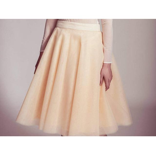 Buff Color Beige Longitud de La Rodilla de Tul Faldas Para Mujer de Cintura  Alta Plisado 68177deae959