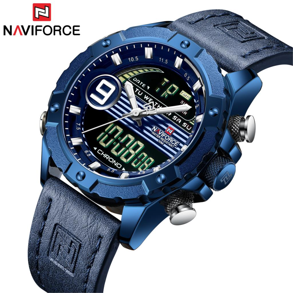 NAVIFORCE Brand New Blue Men Watch Leather Sports Chronograph Military Watches Quartz Clock Analog Digital 3ATM Waterproof 2019NAVIFORCE Brand New Blue Men Watch Leather Sports Chronograph Military Watches Quartz Clock Analog Digital 3ATM Waterproof 2019