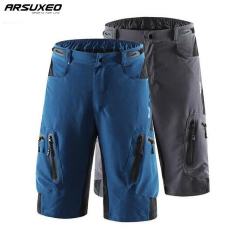 цена на ARSUXEO Cycling Shorts Men Downhill Shorts Bicycle MTB Mountain Bike DH Short Pants Breathable Loose Outdoor Sports Trousers