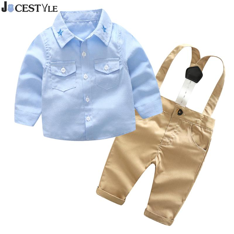 2Pcs/Set Spring Baby Boy Clothes Set Long Sleeve Gentleman Shirt Overalls Suit Fashion Kids Shirts Pants Outfits Clothing Set 2018 spring newborn baby boy clothes gentleman baby boy long sleeved plaid shirt vest pants boy outfits shirt pants set