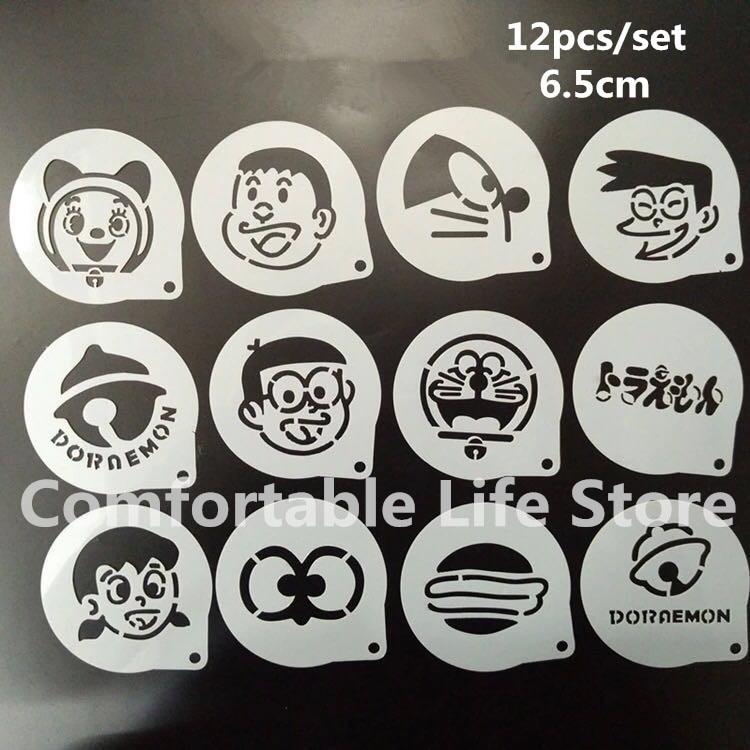 12Pcs/Set Cartoon Latte Coffee Stencils Doraemon Cake Mold Fondant Cookies Baking Tools Art DIY Tools  D15