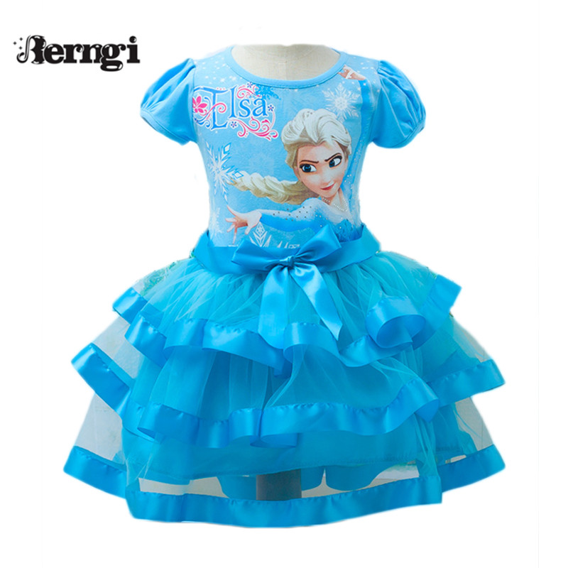 Berngi Brand New style elsa girl short sleeves tutu Dress kids party Princess Anna Dress Snow Queen Cosplay Costume queen and king style party cosplay headwears golden 2 pcs