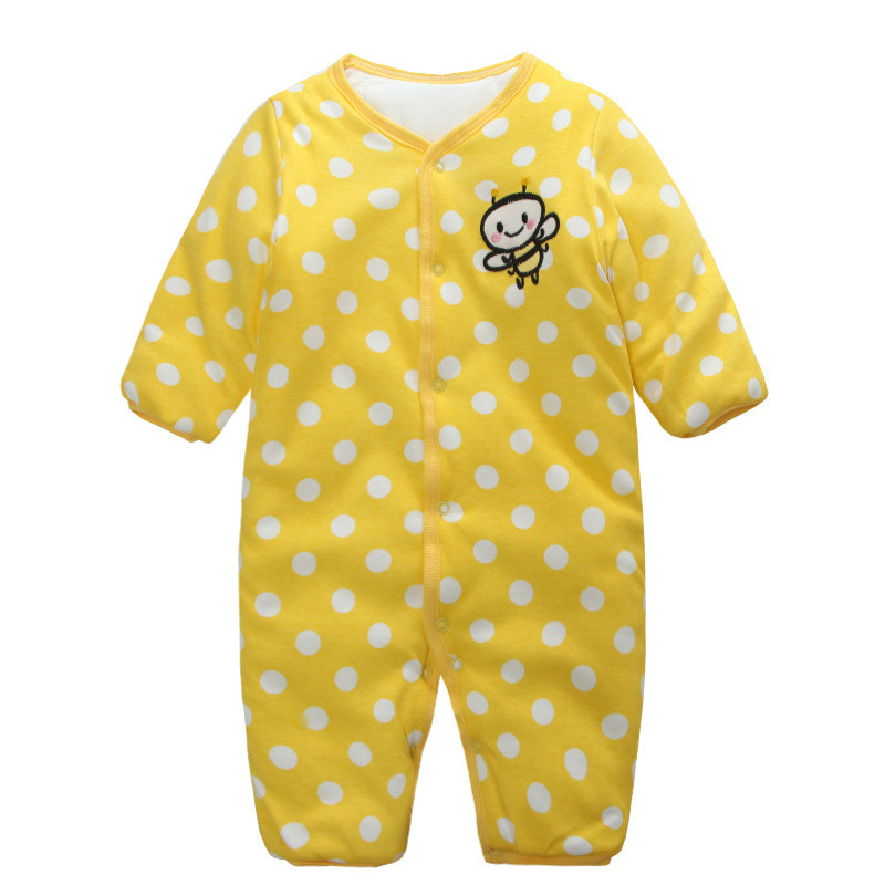 2017new 100% cotton Winter warm baby girl romper clothes Yellow Bee one-piece newborn jumpsuit long sleeve  baby infant  bebes unisex winter baby clothes long sleeve hooded baby romper one piece covered button infant baby jumpsuit newborn romper for baby