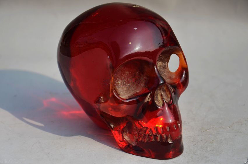 11.5 cm */Collectible Decorate Handwork Old Burmese amber carving skull statue ...