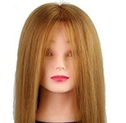 CAMMITEVER Long Hair Training Head Model Manikin Cosmetology Mannequin Doll Synthetic Fiber Hair (Golden)