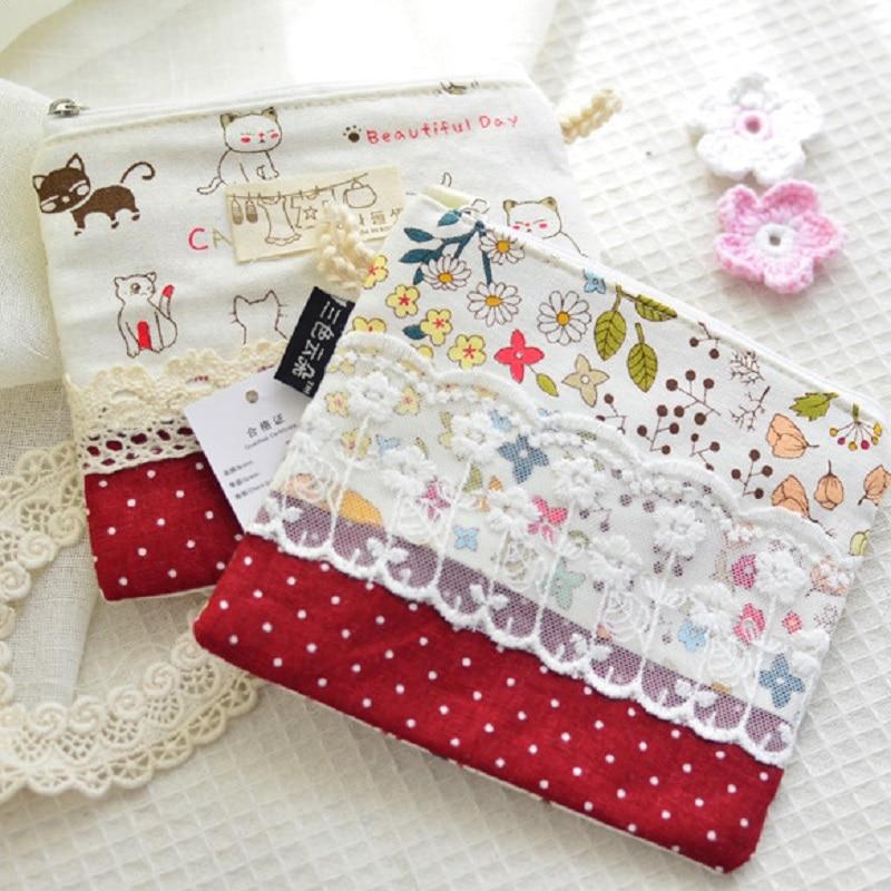 4pcs/lot floral printing lace cotton women coin bag small change purse ladies wallet girls sanitary napkin paper organizer pouch