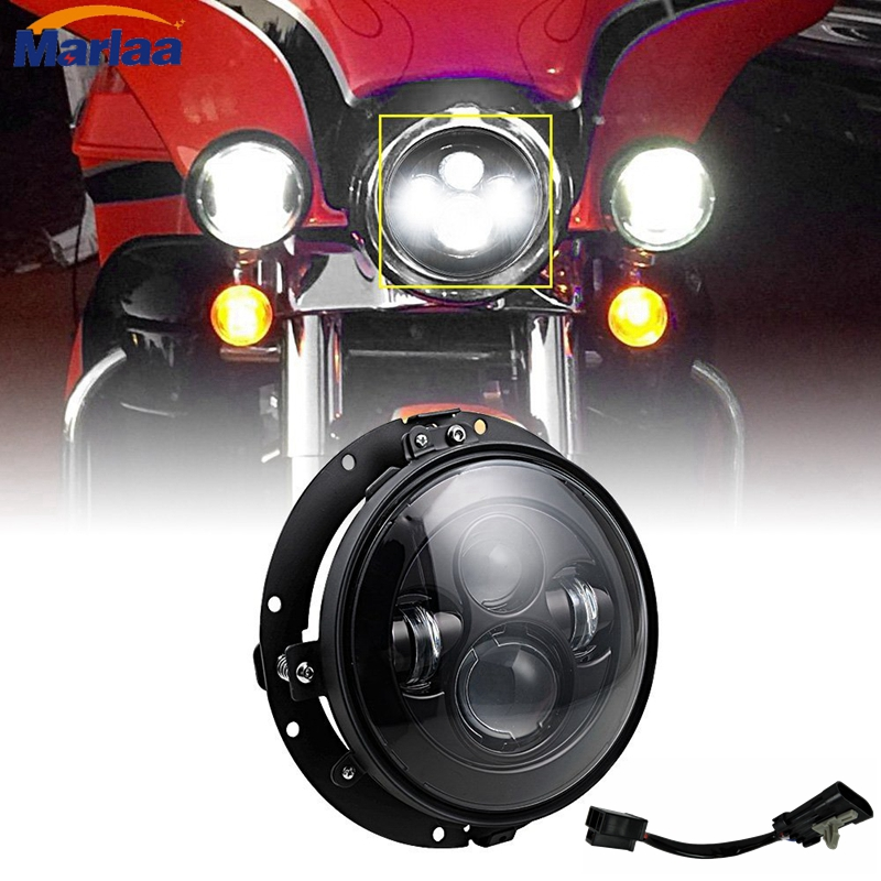 """7\"""" Round LED Projection <font><b>Headlight</b></font> w/ Mounting Ring For Harley Davidson Touring Bikes"""