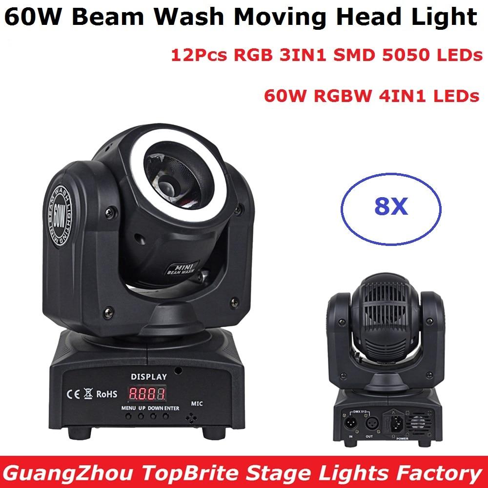 8 Units 60W RGBW Quad Color Mini LED Moving Head Beam Lights DMX LED Dj Wash Effect Lights DMX 16/30 Channels Free Shipping
