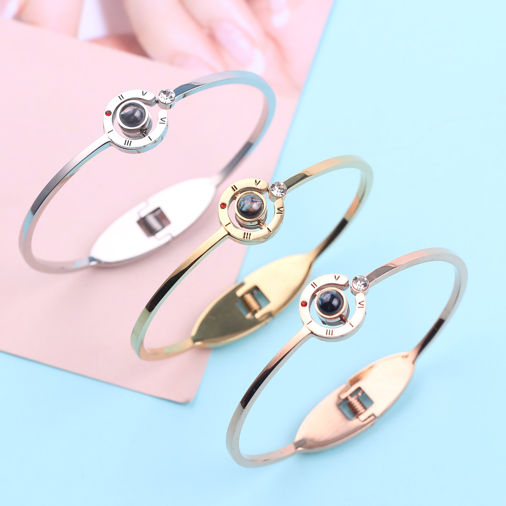 Charm Bracelet 100 Languages I Love You Bracelet Valentine's Day Gift Rose Gold Color Bracelet Bangle Chain Accessories Pulseira