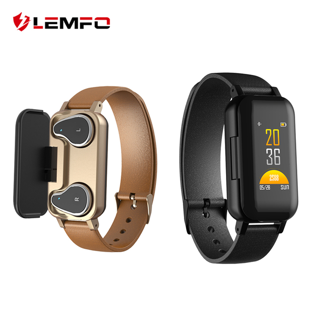 LEMFO T89 TWS Smart Binaural Bluetooth Headphone Fitness Bracelet Heart Rate Monitor Smart Wristband Sport Watch Men Women