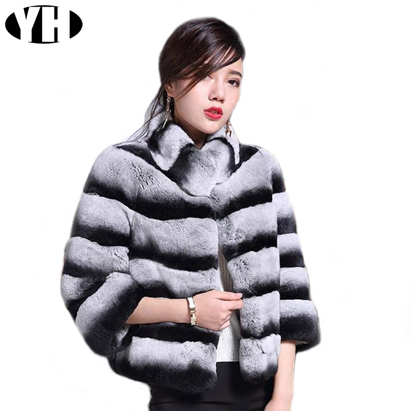 Chinchilla Fur Coat Rex-Rabbit-Fur Natural Jacket Outerwear Winter Women Real Warm Soft