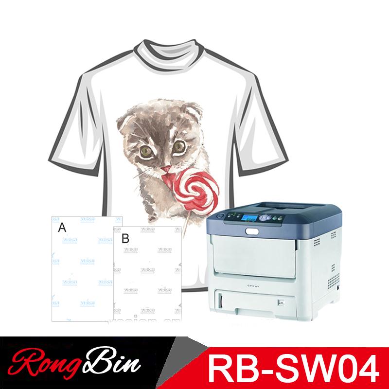 80 Sheets/Lot Sublimation Machine Self Weeding A4 No Cut Dark Laser Dark Transfer Paper For Dark Fabric/T-shirts 8.5x11 Inch