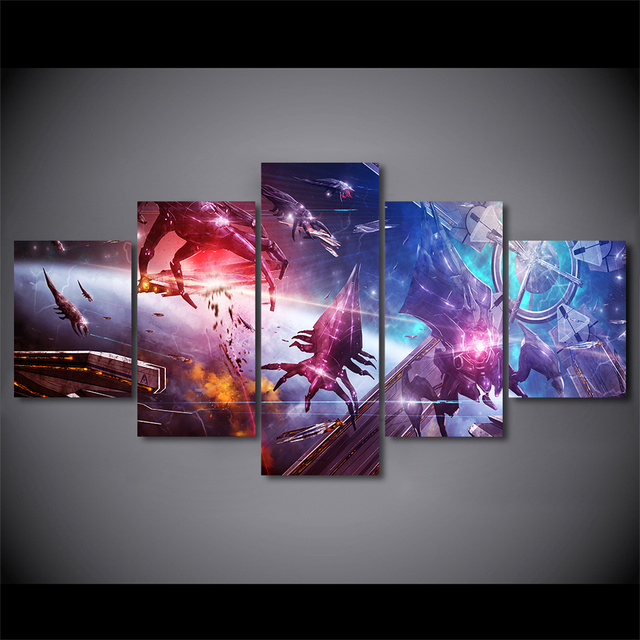 5 piece canvas painting Mass Effect game posters and prints wall picture for living room free shipping 1
