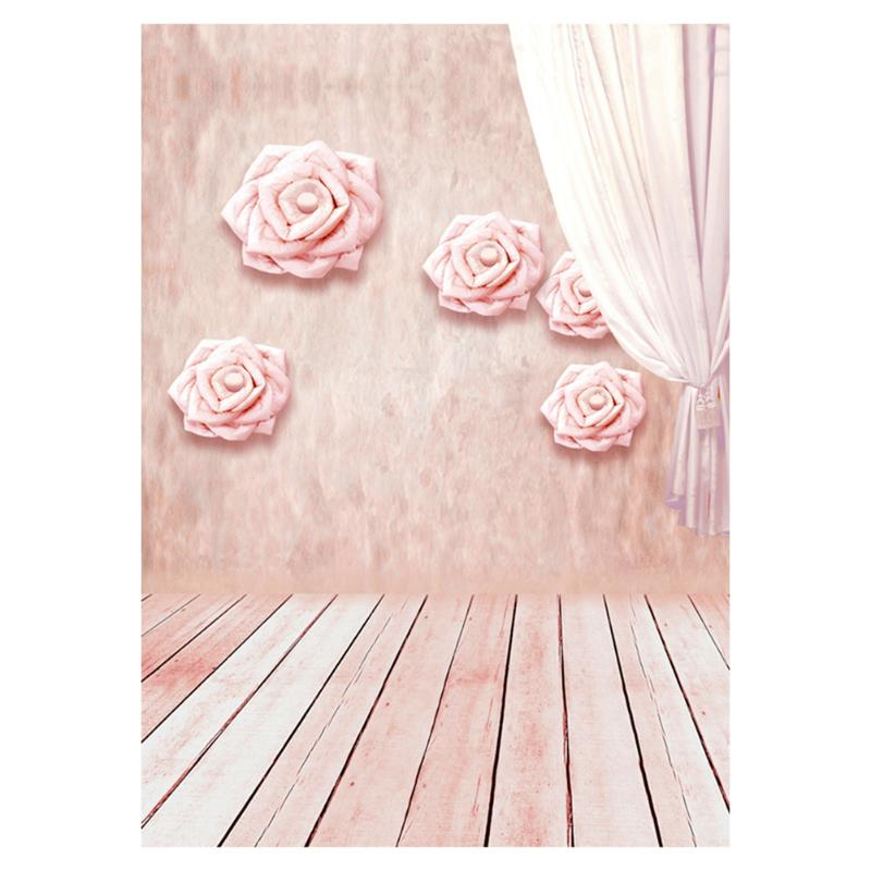 ALLOYSEED Wedding Pink Flower Wall Photography Background 90*150cm Wedding Wood Floor Photo Backdrop For Studio Props Home Decor