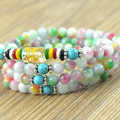 New Fashion 6mm Colorful Stone  Tibetan Buddhist 108 Prayer Beads Necklace Gourd mala Prayer Bracelet for Meditation