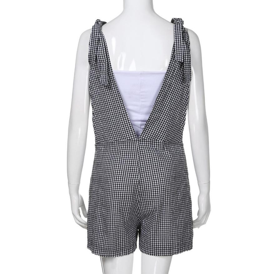 3432e32dc7 ... Summer Style Jumpsuits Ladies Sleeveless Plaid Printed Playsuits  Trousers Womens Casual Romper Pants  Zer. Sale! 🔍. Clothing ...
