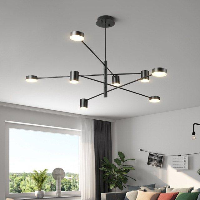 TRAZOS Black Chandelier Lighting Single Light Dining Room LED Crystal Lamp Modern Kitchen Island Pendant Chain Cristal Lustre