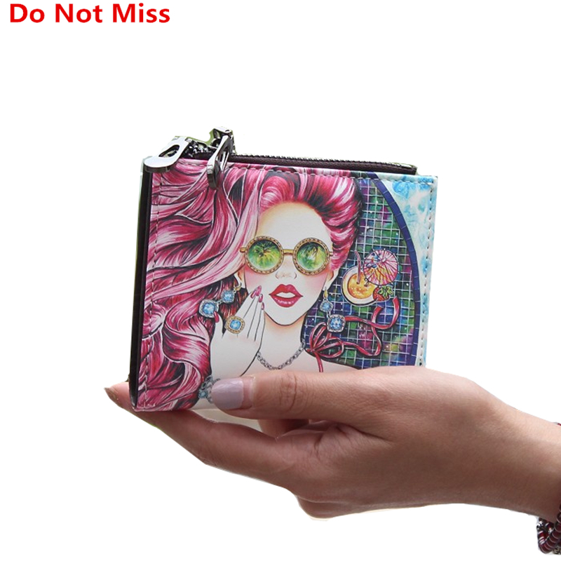 Do Not Miss New Cartoon Graffiti Wallet for Girl High Quality Leather Short Women Wallet Designers PU Zipper Coin Pocket Purse cartoon pokemon go purse pocket monster pikachu johnny turtle ibrahimovic zero wallets pen pencil bags boy girl leather wallet