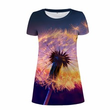 FORUDESIGNS Women Dress 2017 Fashion 3D Dandelion Print Short Sleeve Funny Dollar S M L XL Vestidos De Festa