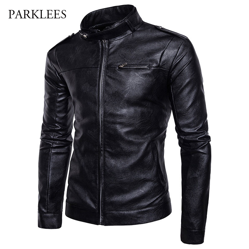 Casual Stand Collar Mens PU Leather Jacket 2017 Fashion Pocket Zipper Motorcycle Leather Jacket Men Slim Fit Jaqueta Masculino slim fit zipper front mens jacket