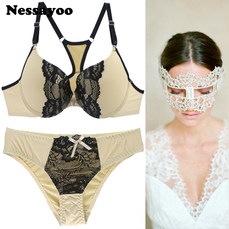 Women Large Size Sexy Lace <font><b>Bra</b></font> <font><b>Sets</b></font> <font><b>Front</b></font> <font><b>Buckle</b></font> Closure Vs Fashion Sexy Lingerie for Women Thin Cup Underwear <font><b>Sets</b></font> Y-type Strap image