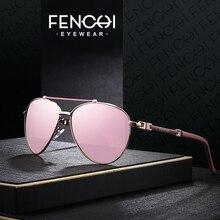 FENCHI Sunglasses Women Brand Designer Glasses Driving Pilot trendy vintage retro mirror oculos feminino