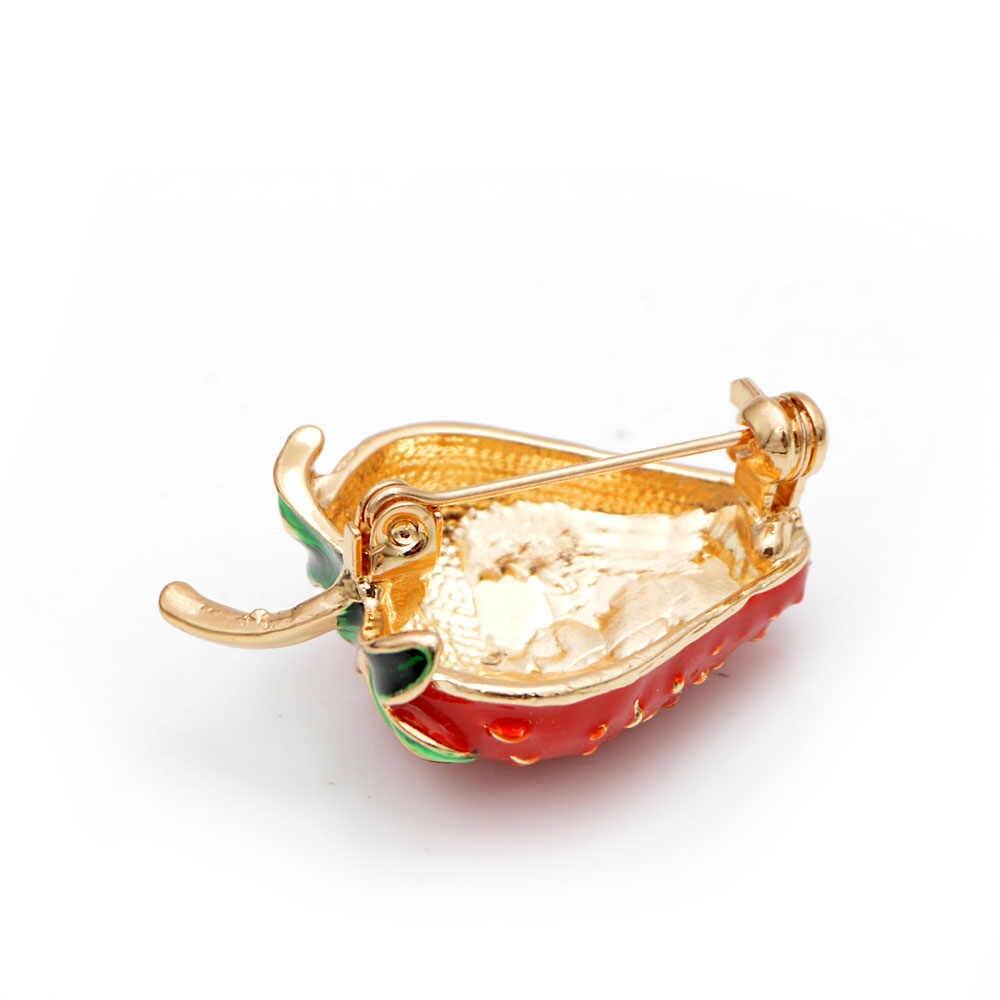 Юный тюльпан креативный Сладкий Клубника брошь женская булавка изысканное платье рубашки эмаль ювелирные изделия аксессуар для детей день рождения