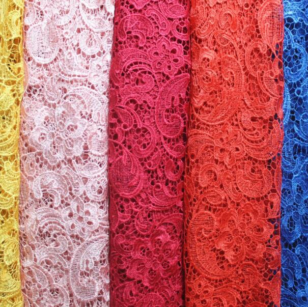 2Yards Nigerian Lace Fabrics For Wedding Dress White African Cord Lace Fabrics Red Blue French Guipure Lace Sewing Material