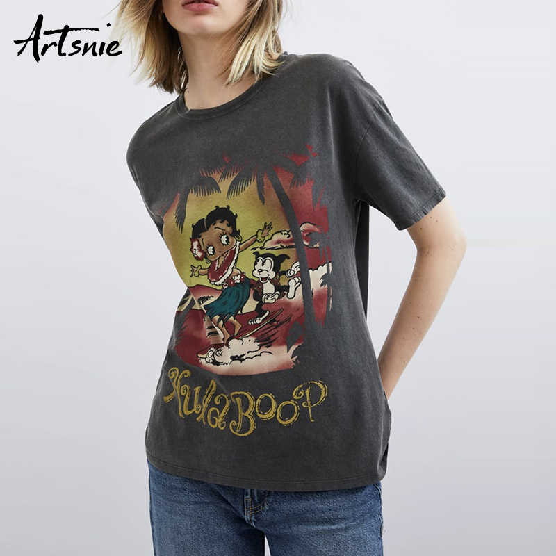 Artsnie streetwear cartoon print women t shirt summer 2019 o neck short sleeve tops female casual knitted t-shirts tee mujer